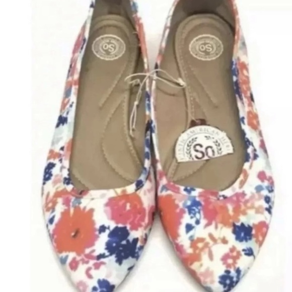 SO Floral Shoes Ballet Flats Size 10 NEW